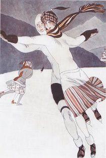 Art Deco Fashion Illustration Christmas Card. Two Ladies Skating.