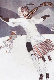 Gliding. Vintage Illustration Christmas Card.
