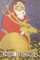 Are We Ready, Prancer? Vintage Santa and Reindeer Illustration Christmas Card.