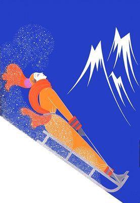 Downhill Motion. Vintage Fashion Illustration Christmas Card. Art Deco.