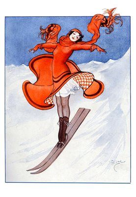 Firebird on the Slopes. Vintage Fashion Illustration Christmas Card. Art Deco. La Vie Parisienne.