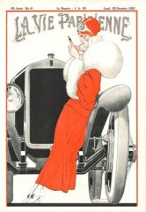 Christmas at the Motor Show. Vintage Fashion Illustration Christmas Card. La Vie Parisienne.