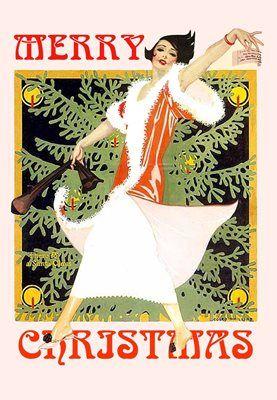 Merry Christmas Vintage Fashion Illustration Christmas Card.