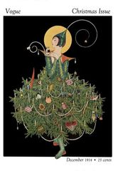 Christmas Vogue. Vintage Fashion Illustration Christmas Card.