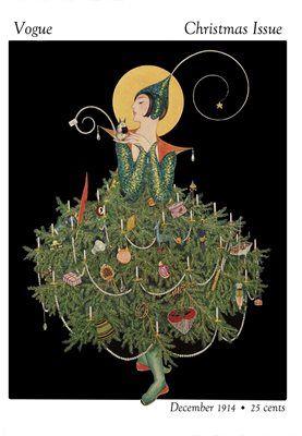 Christmas Vogue. Vintage Fashion Illustration Christmas Card.
