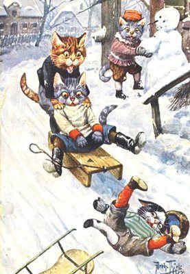 Look Out! Vintage Cat Illustration Christmas Card. Arthur Thiele.
