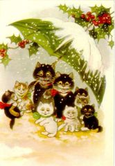 Family Outing. Vintage Cat Illustration Christmas Card.