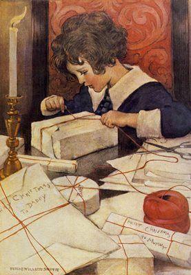 Wrapping Presents. Edwardian Illustration Christmas Card. Jessie Willcox Smith
