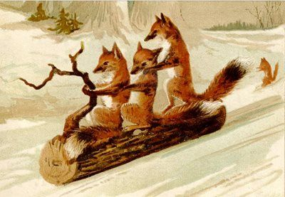 Foxes Having Fun. Vintage Fox Illustration Christmas Card.