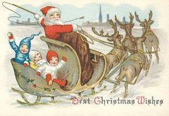 Best Christmas Wishes. Edwardian Santa on a Sleigh Illustration Christmas Card.
