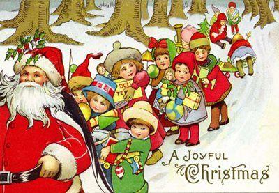 A Joyful Christmas. Bright Santa Illustration Christmas Card.