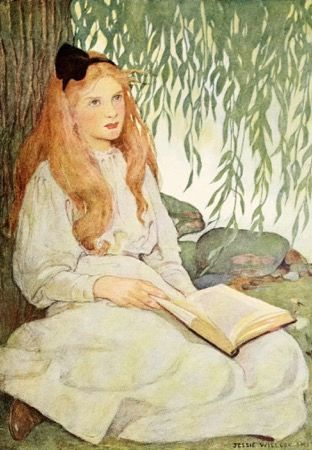 'Alice Dreaming' Vintage Reading Illustration Greeting Card Jessie Wilcox Smith