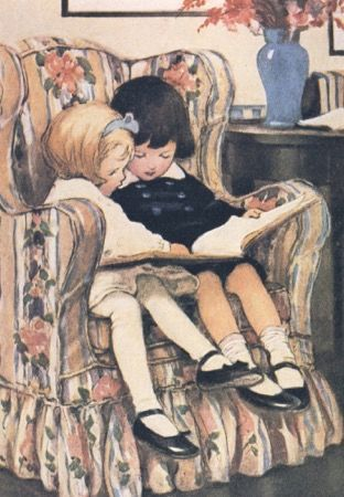'Best Friends Reading' Vintage Reading Illustration Greeting Card Jessie Wilcox Smith