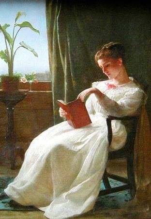 'Girl Reading 1872' Vintage Reading Illustration Greeting Card George Cochran Lambdin