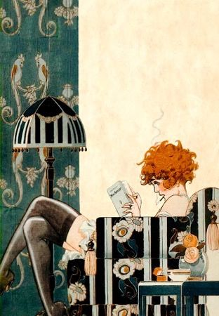 'A Smokin' Good Read' Vintage Reading Illustration Greeting Card La Vie Parisienne