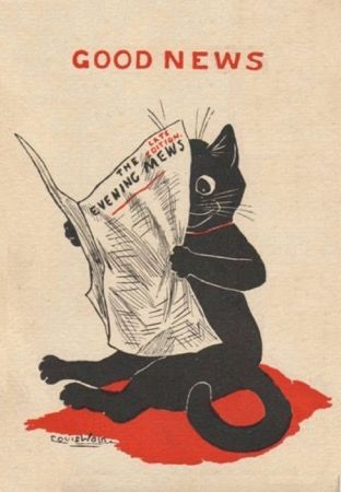 The Evening Mews. Louis Wain Illustration Good News Greeting Card.