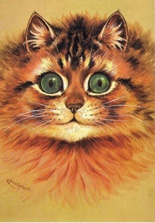 I See You. Louis Wain Cat Illustration Greeting Card.