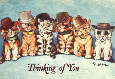 Thinking of You. Louis Wain Cat Illustration Greeting Card.