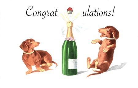 Pop! Dachshunds with Champagne Vintage Illustration Celebration Card. Congratulations!