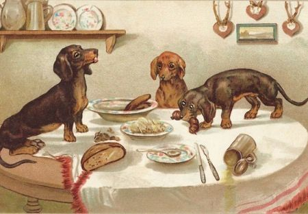 Sausages! Naughty Dachshunds Vintage Illustration Greeting Card.