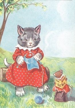 Knittin' Kitten. Vintage Cat Illustration Greeting Card.