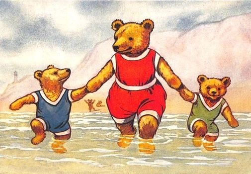 Teddies by the Sea. Vintage Teddy Bear Illustration Greeting Card.