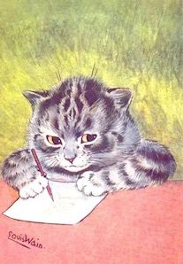 I Find Myself Thinking of You. Louis Wain Illustration Correspondence Card.