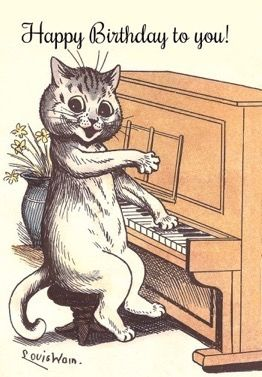 Happy Birthday to You! Louis Wain Illustration Birthday Card. Cat Playing Piano