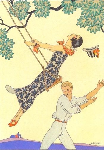 'The Swing' Stunning Art Deco Barbier Illustration Greeting Card