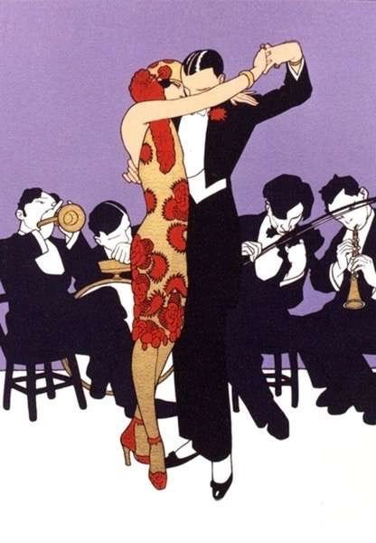 'Tango' Stunning Vintage Illustration Greeting Card. Dancing Couple