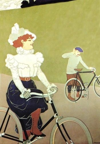 'Gliding By' Vintage Fashion Illustration Greeting Card. Lady on Bicycle.