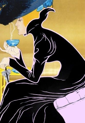 'At The Cafe' Vintage Fashion Illustration Greeting Card. Lady Drinking Tea.