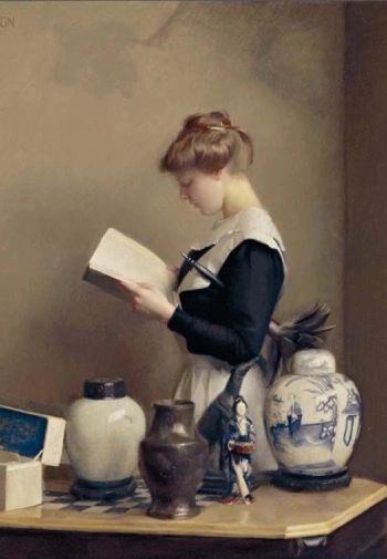 'The Housemaid' Vintage Reading Illustration Greeting Card. Painting by William McGregor Paxton.