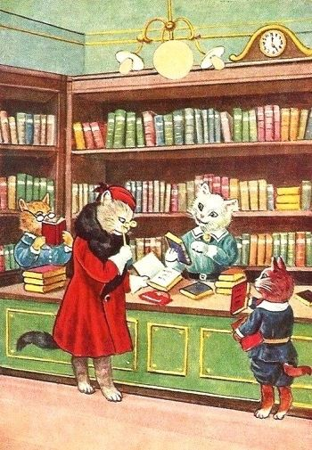 'Checking Out the Latest Novels' Vintage Cat Illustration Greeting Card.