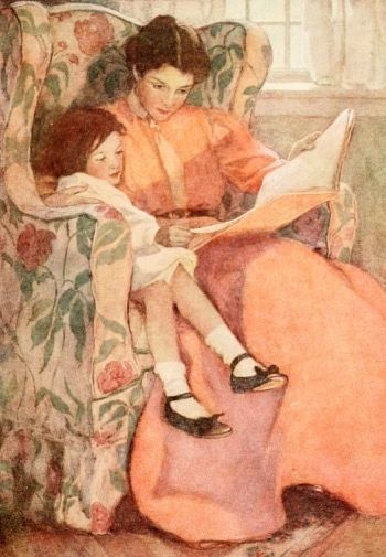 'Reading with Mother' Vintage Reading Illustration Greeting Card Jessie Wilcox Smith
