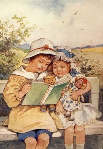 'Countryside Escape' Vintage Reading Illustration Greeting Card.