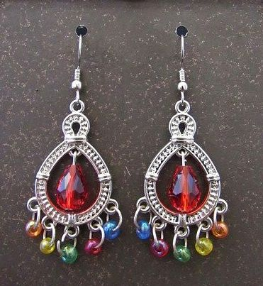 Silver Chandelier Earrings with Multi Colored Bead Accents Earrings