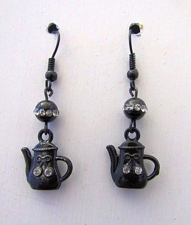 Cute Black Coffee Pot Earrings with Rhinestone Accents