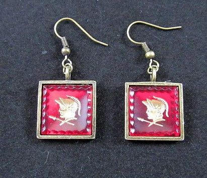 Red Vintage Roman Soldier Squares Earrings in Gold Settings