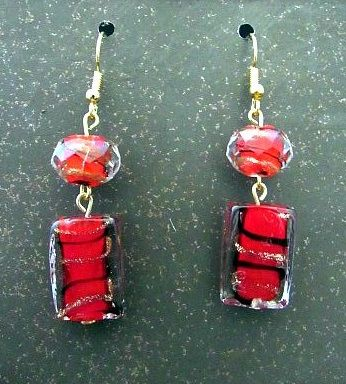 Red & Black Art Glass Beads with Gold Swirl Earrings