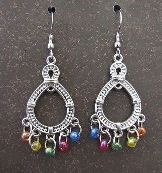 Silver Chandeliers with Multi-Colored Bead Dangles