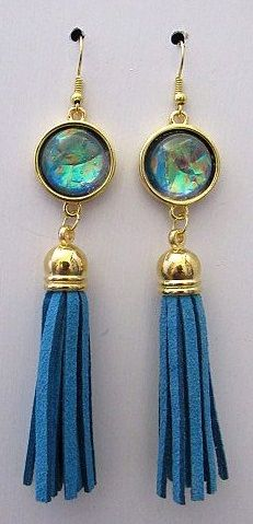Long Blue Tassel Earrings with Fancy Stone Accents