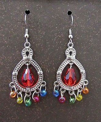 Silver Chandelier Earrings with Colored Beads & Red Teardrop
