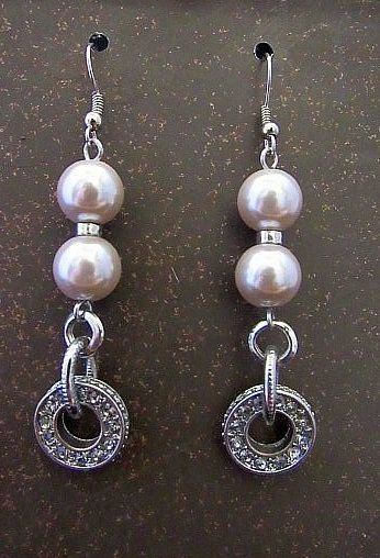 Pearl Beads with Glittery Ring Accents Earrings