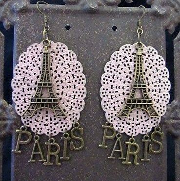 Large Statement Eiffel Tower Earrings with Pink Filigree