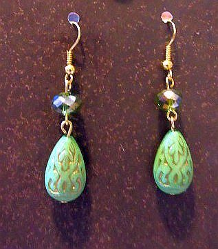 Light Green Etched Teardrops with Matching Bead Accents