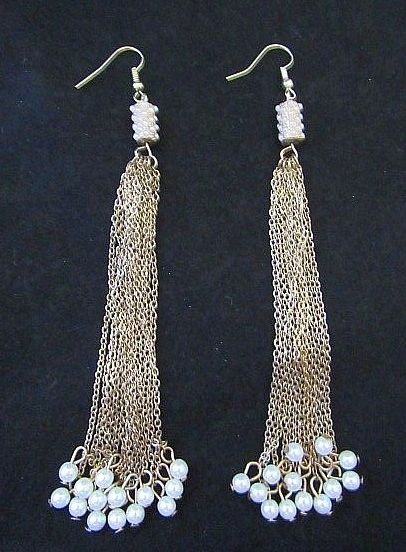 Long Gold Chain Earrings with Pearl Accents