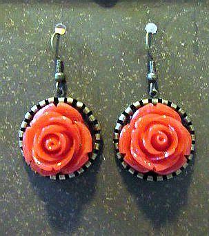Deep Peach Rose Earrings with Gold Settings
