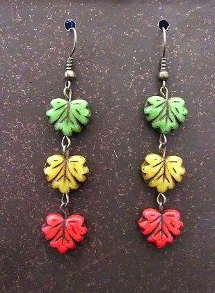 Czech Glass Autumn Leaf Trio Earrings