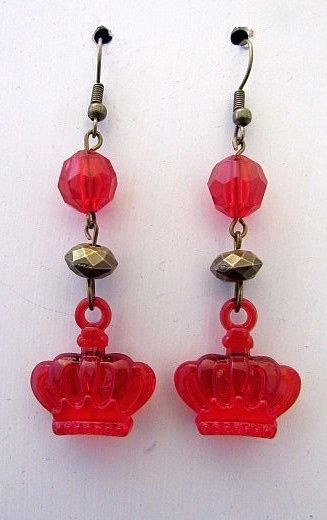 Red Acrylic Crown Charms with Gold & Red Accent Beads Earrings
